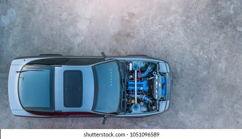 Top view super car engine open up.