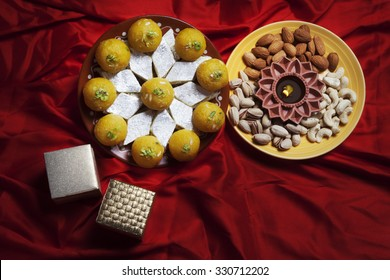 Top view of sweets , nuts and gifts