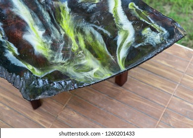 Top view table enamel epoxy resin wood abstract background
