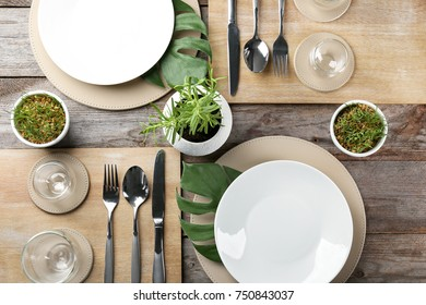 Top view of table setting for dinner in vegetarian cafe