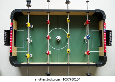 Top view of table soccer game