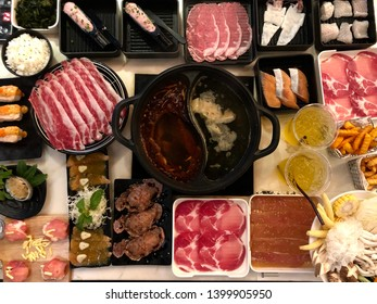 Top view of Table of Thai Shabu shabu Sukiyaki and the ingredients