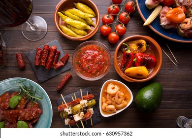 Top view of table with variety of mediterranean appetizers - tapas