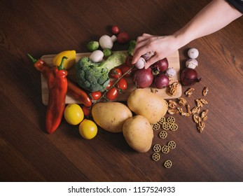 Top view of table and vegetables