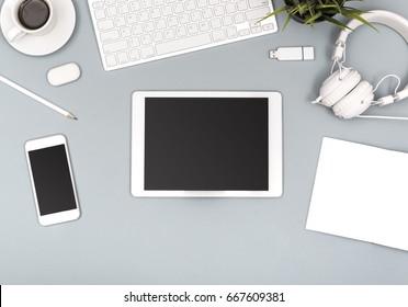 top view tablet office desk mockup