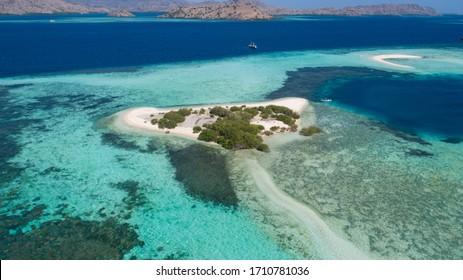 Top view of Taka Makassar from Komodo Island (Komodo National Park), Labuan Bajo, Flores, Indonesia