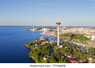 Top view of the Tampere city on the lakehore