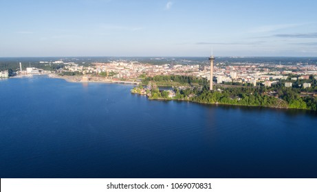 Top view of the Tampere city at summer