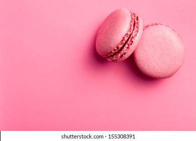 top view of tasty pink macaroons