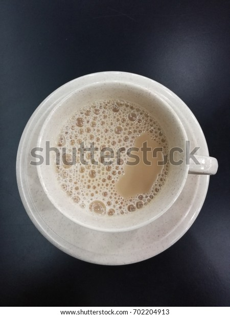 Top view tea with milk or called teh tarik in malaysia