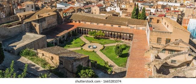 Top view of the Templer Monastery of Santa Clara, Tortosa, Catalonia, Tarragona, Spain and the town Tortosa