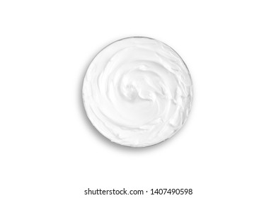 top view , texture of white skin cream , beauty treatment concept.isolated on white background with clipping path