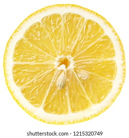 Top view of textured ripe slice of lemon citrus fruit isolated on white background with clipping path. Lemon slice with seeds