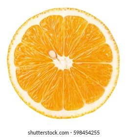 Top view of textured ripe slice of orange citrus fruit isolated on white background. Orange slice with clipping path