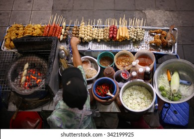 Top view of a Thai street food vendor in Bangkok, Thailand