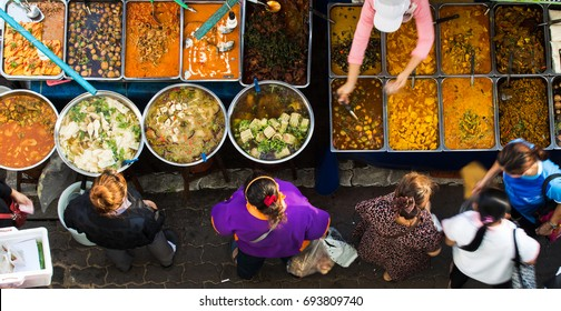 Top view of a Thai street food ,Thai food on the streets in Bangkok in the evening people come to buy food. And tourists to walk. A delicious source of delicious food in Thailand.