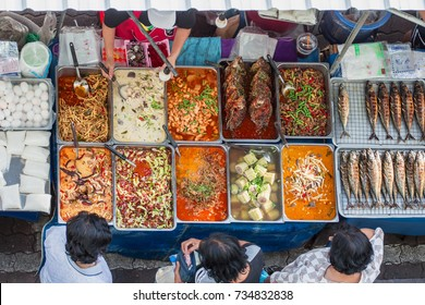 Top view of a Thai street food ,The market in Thailand is full of food. And will sell on the street.Thai food on the street is popular and sell well, not less than Pad Thai and Tom Yum Shrimp are vari