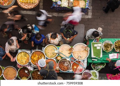 Top view of a Thai street food ,The market in Thailand is full of food. And will sell on the street.