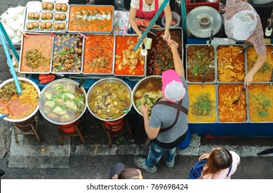 Top view of a Thai street food ,The market in Thailand is full of food,Thai food on the street offers a great selection of food,street food thailand