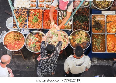 Top view of a Thai street food ,The market in Thailand is full of food. And will sell on the street,street food thailand
