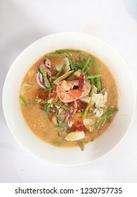 Top View of Thai Suki Yaki Soup, stir-fried vermicelli with vegetables and seafood.