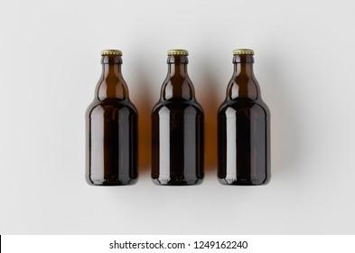 Top view of three beer bottles mockup.