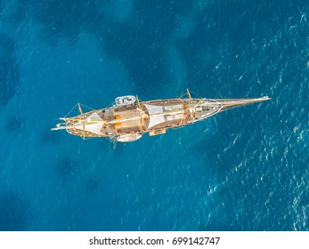 Top view of three-tree sailing ship. In the sea of Sardinia