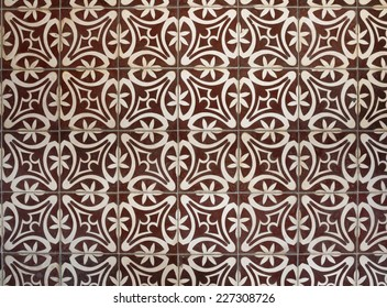 Top view tiled floor with brown Mediterranean decorations