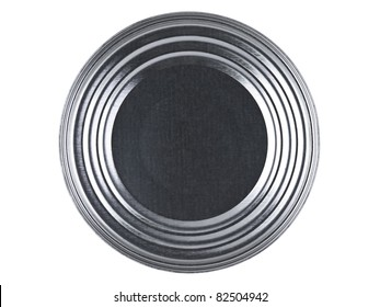 Top view of a tin can over a white background.
