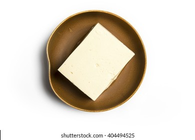 Top view of tofu isolated on white background.