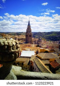 Top view of Toledo and the Bell Tower of Toledo's Cathedral, Spain