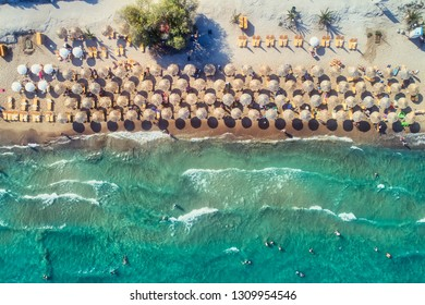 "Top view of Tolo beach or ""Psili Ammos"" is from the most popular tourist resorts of Argolida in Peloponnese, Greece"