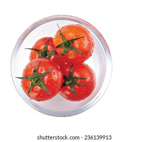 Top view  tomato fresh  isolated on white background