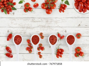 top view tomato sauce spoon with tomatoes isolated on kitchen white wooden table banner copy space template