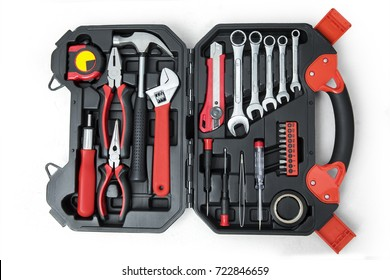 Top view of tools on the opened toolbox, isolated on white background