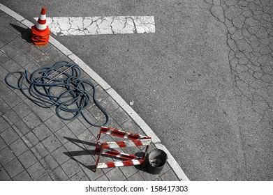 Top view of tools for street repairs.