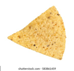 Top view of a tortilla chip isolated on a white background.