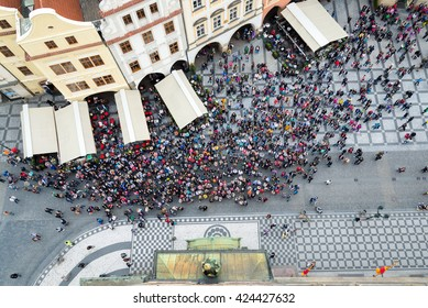 top view of tourist crowd in old town square in Prague