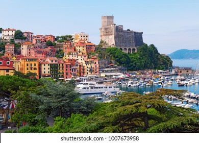 Top view of town Lerici on Ligurian coast of Italy, Europe. Castle of Lerici and port of Lerici. Beautiful colorful cityscape traditional Italian architecture