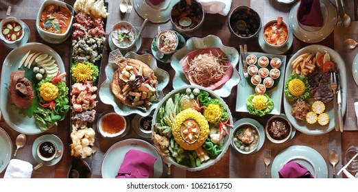 Top view. Tradition Thai food mix menu set.Thai delicious in restaurant . Food concept