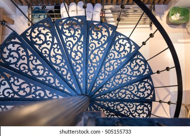 top view of traditional pattern spiral staircase in Thailand
