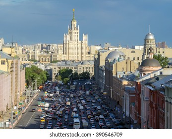 top view of traffic jam in big city Moscow