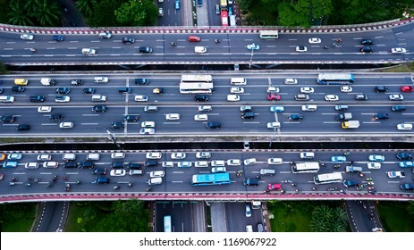 Top view of traffic jam on the Semanggi road interchange at the peak hour in Jakarta, Indonesia