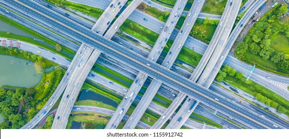 Top view Traffic trails on highway intersection