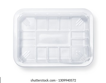 Top view of transparent plastic food packing tray isolated on white