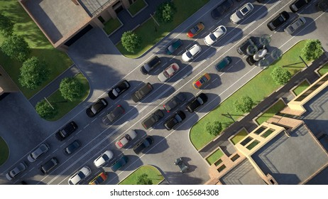 Top view. Transport of the future in an urban environment. 3d illustration.