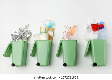 top view of trash bins and assorted garbage. Recycle concept