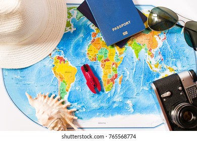 Top view of the travel accessories card. Vacation, travel concept