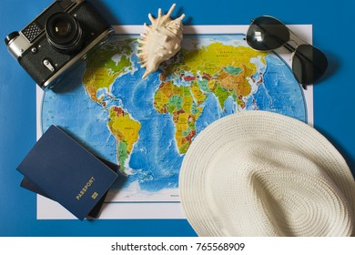 Top view of the travel accessories card. Vacations in different countries of the world