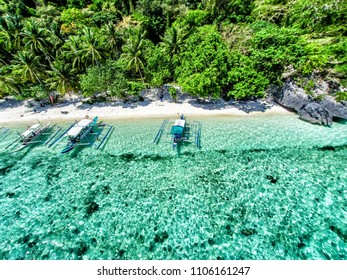 Top view of a tropical island with palm trees and blue clear water. Aerial view of a white sand beach and boats over a coral reef. The island of Palawan, Philippines.